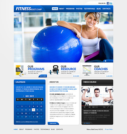 Шаблон сайту на тему фітнес CSS photoshop