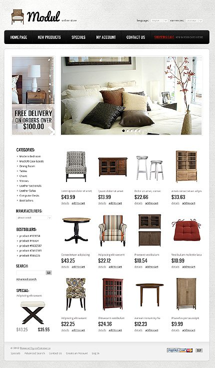 osCommerce Template 37716 Main Page Screenshot