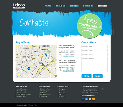 Template 37758 ( Contacts Page ) ADOBE Photoshop Screenshot