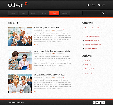 Template 37769 ( Blog Page ) ADOBE Photoshop Screenshot