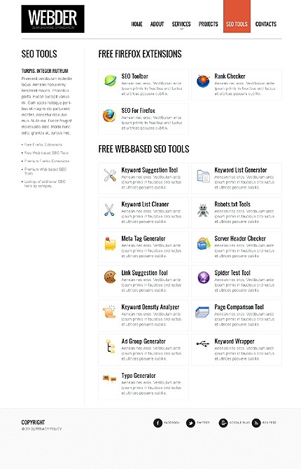 Template 37776 ( SEO Tools Page ) ADOBE Photoshop Screenshot