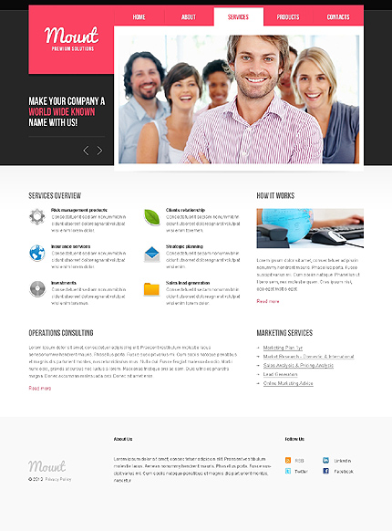 Template 37799 ( Services Page ) ADOBE Photoshop Screenshot