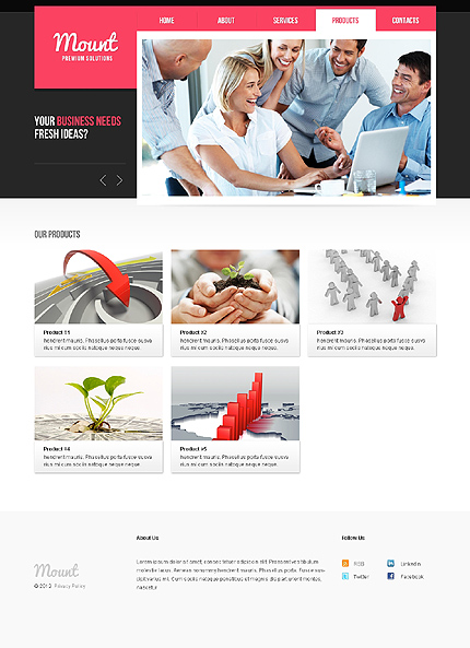 Template 37799 ( Products Page ) ADOBE Photoshop Screenshot