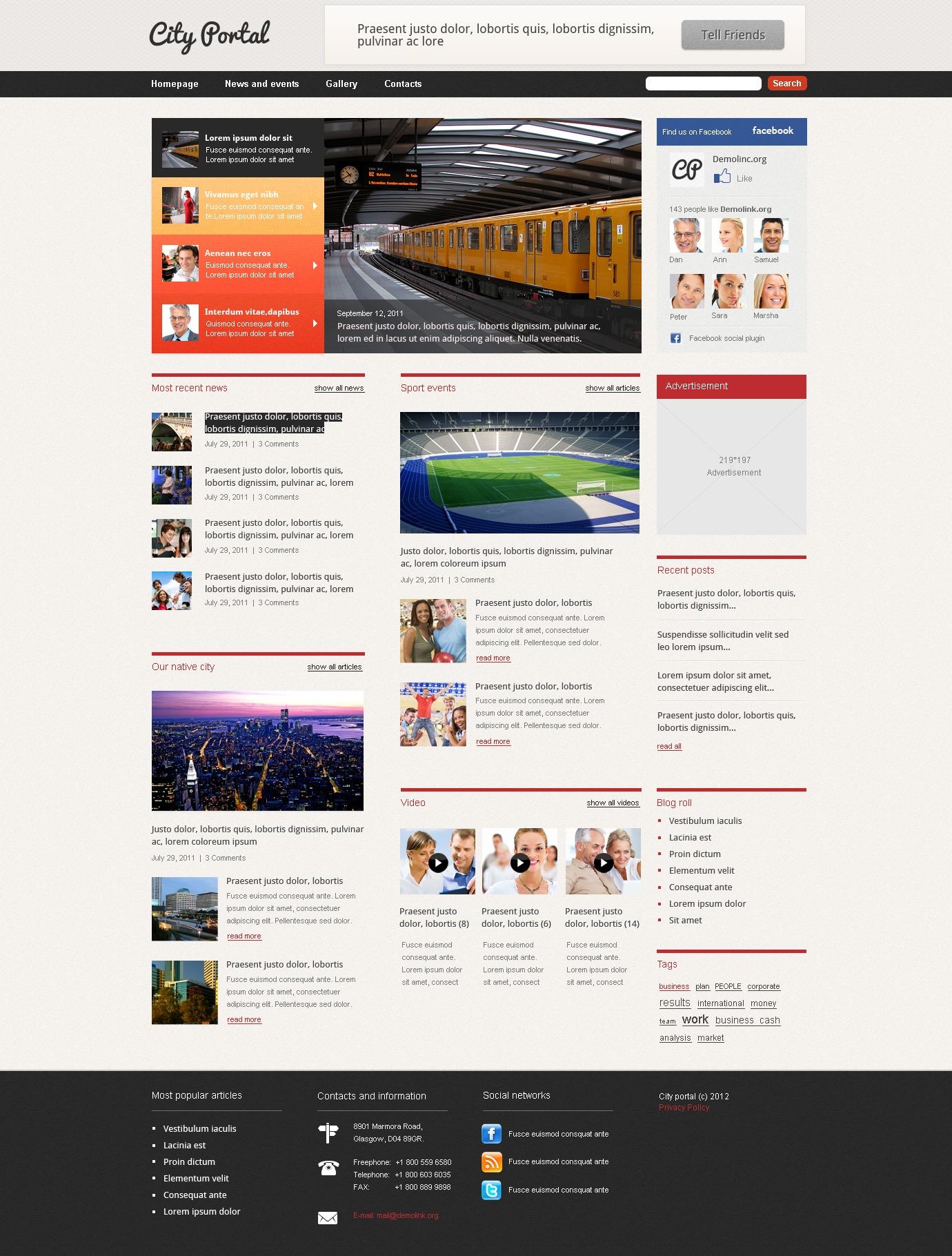 Tema De WordPress #37712 para Sitio de Portal de Ciudad - captura de pantalla