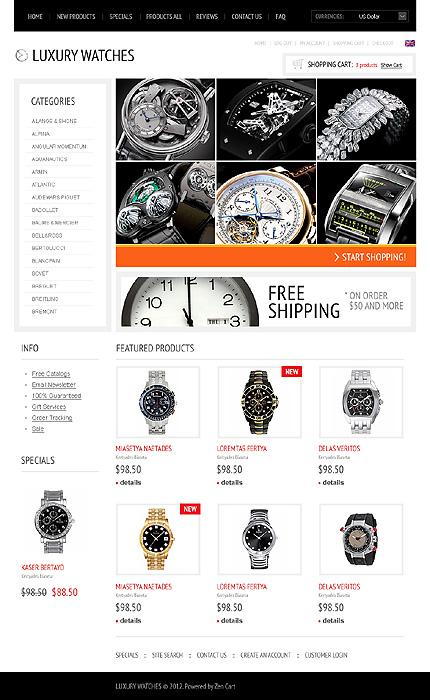 ZenCart Template 37805 Main Page Screenshot