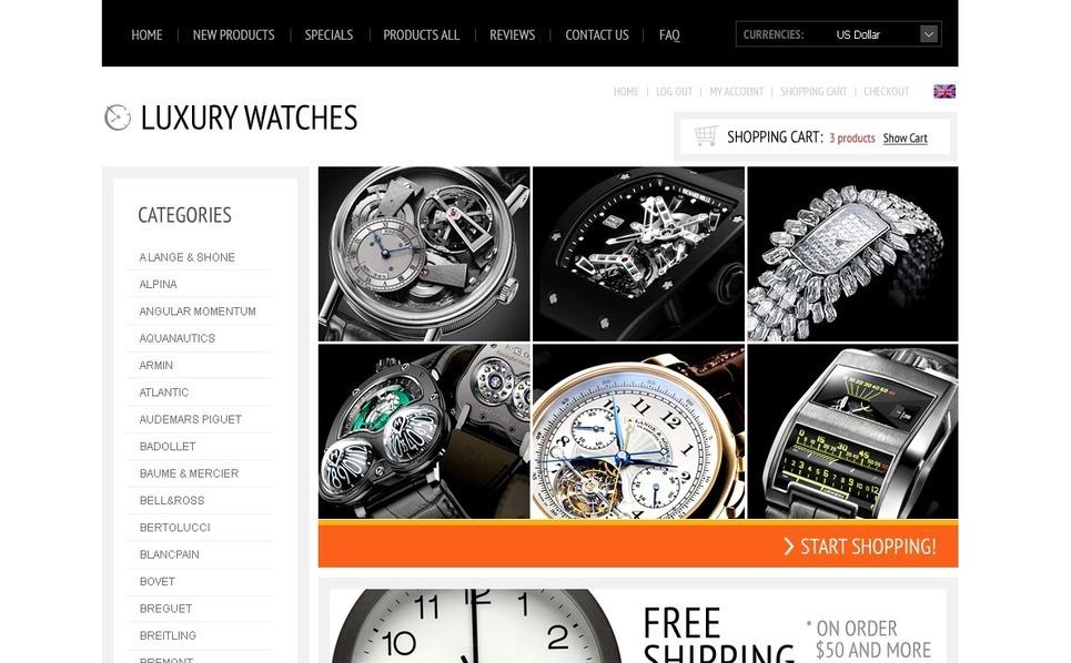 Plantilla ZenCart #37805 para Sitio de Relojes New Screenshots BIG
