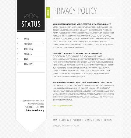 Template 37809 ( Privacy Policy Page ) ADOBE Photoshop Screenshot