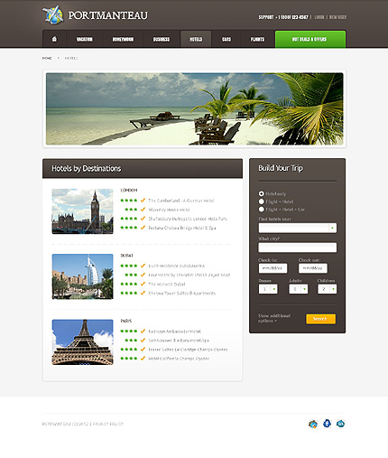 Template 37812 ( Hotels Page ) ADOBE Photoshop Screenshot