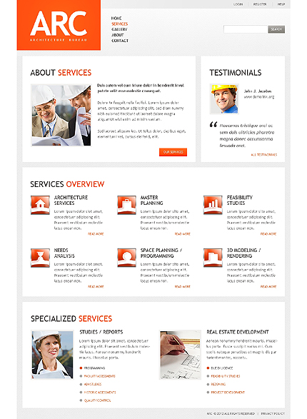 Template 37823 ( Services Page ) ADOBE Photoshop Screenshot
