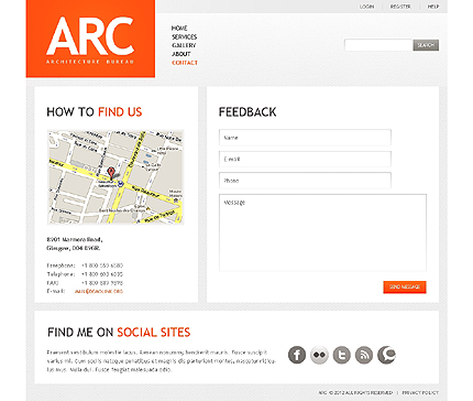 Template 37823 ( Contact Page ) ADOBE Photoshop Screenshot