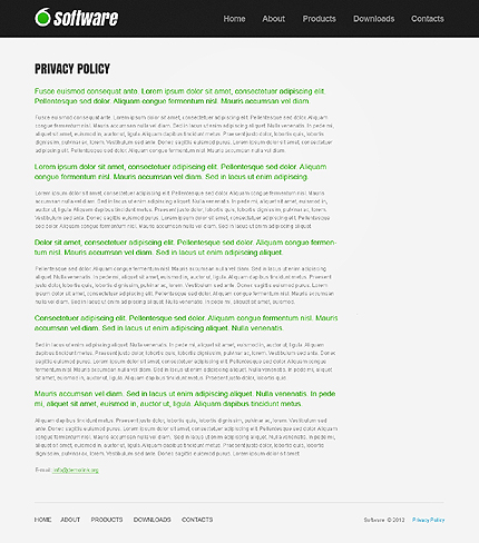Template 37825 ( Privacy Policy Page ) ADOBE Photoshop Screenshot