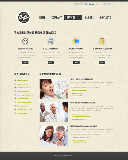 Template 37826 ( Services Page ) ADOBE Photoshop Screenshot