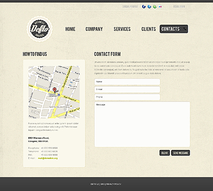 Template 37826 ( Contacts Page ) ADOBE Photoshop Screenshot