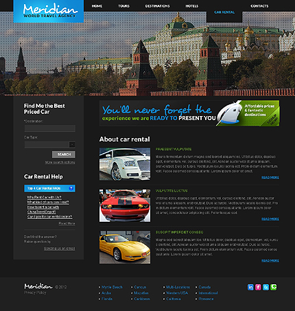 Template 37830 ( Car rental Page ) ADOBE Photoshop Screenshot