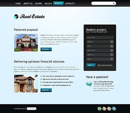 Template 37832 ( Renting Page ) ADOBE Photoshop Screenshot