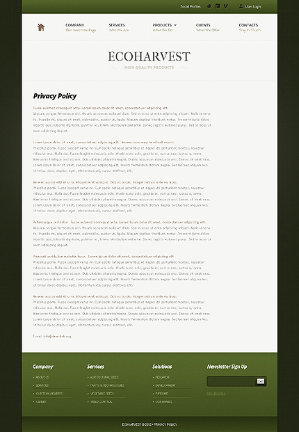 Template 37833 ( Privacy Policy Page ) ADOBE Photoshop Screenshot