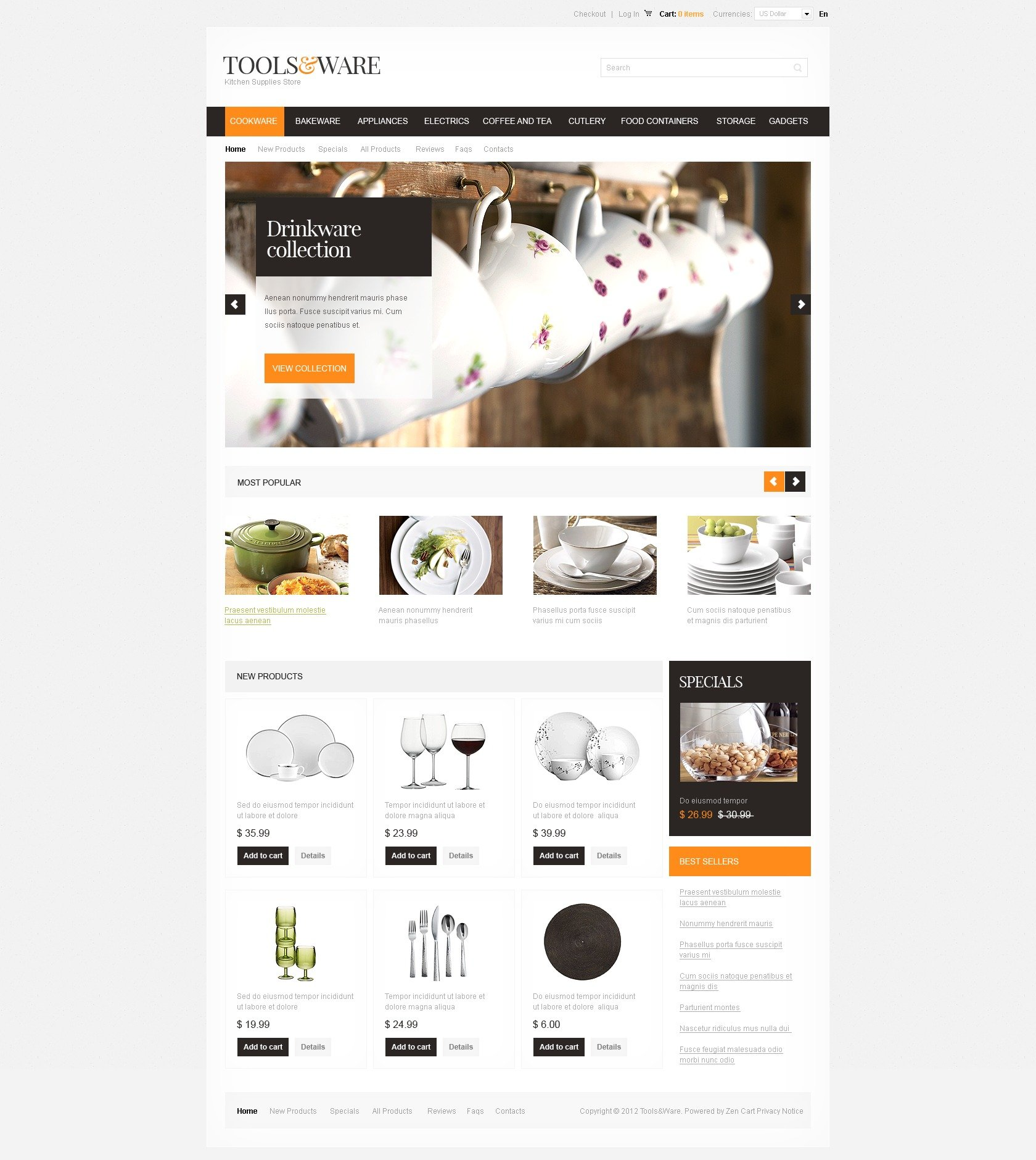 Housewares Zencart Template 37891