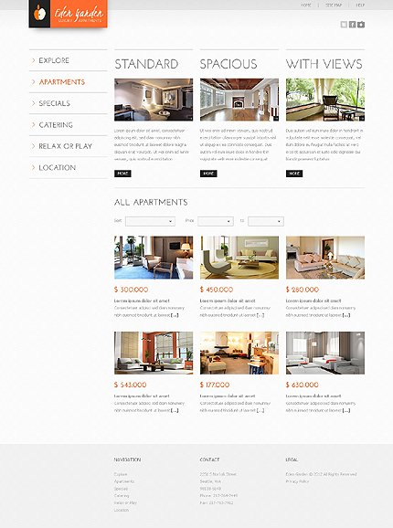 Template 37919 ( Apartments Page ) ADOBE Photoshop Screenshot