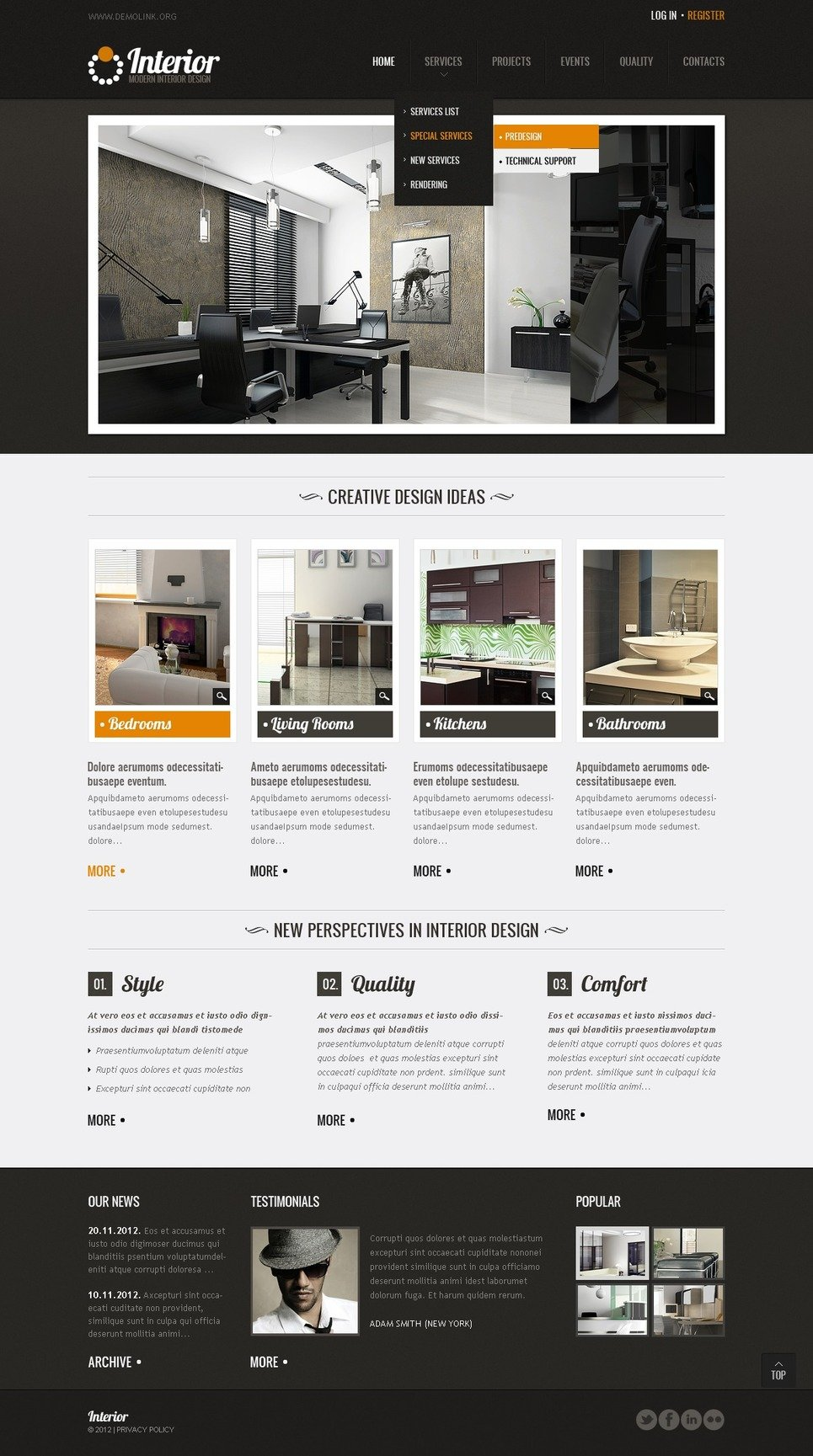 Interior Design Website Template 37996
