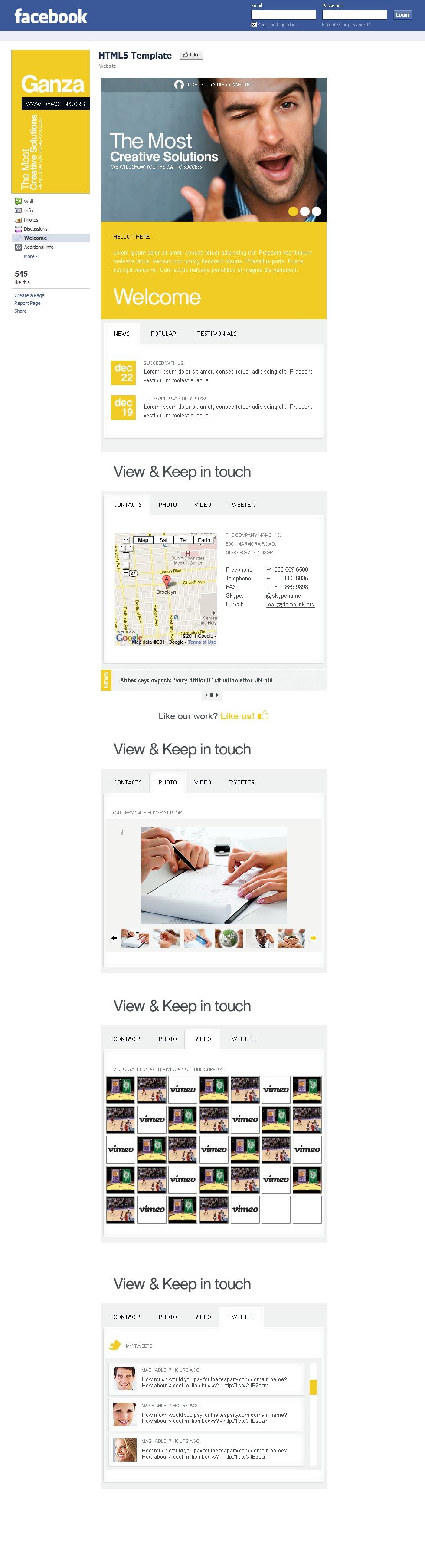 Modèle Facebook pour site d'affaires et de services #37944 - screenshot