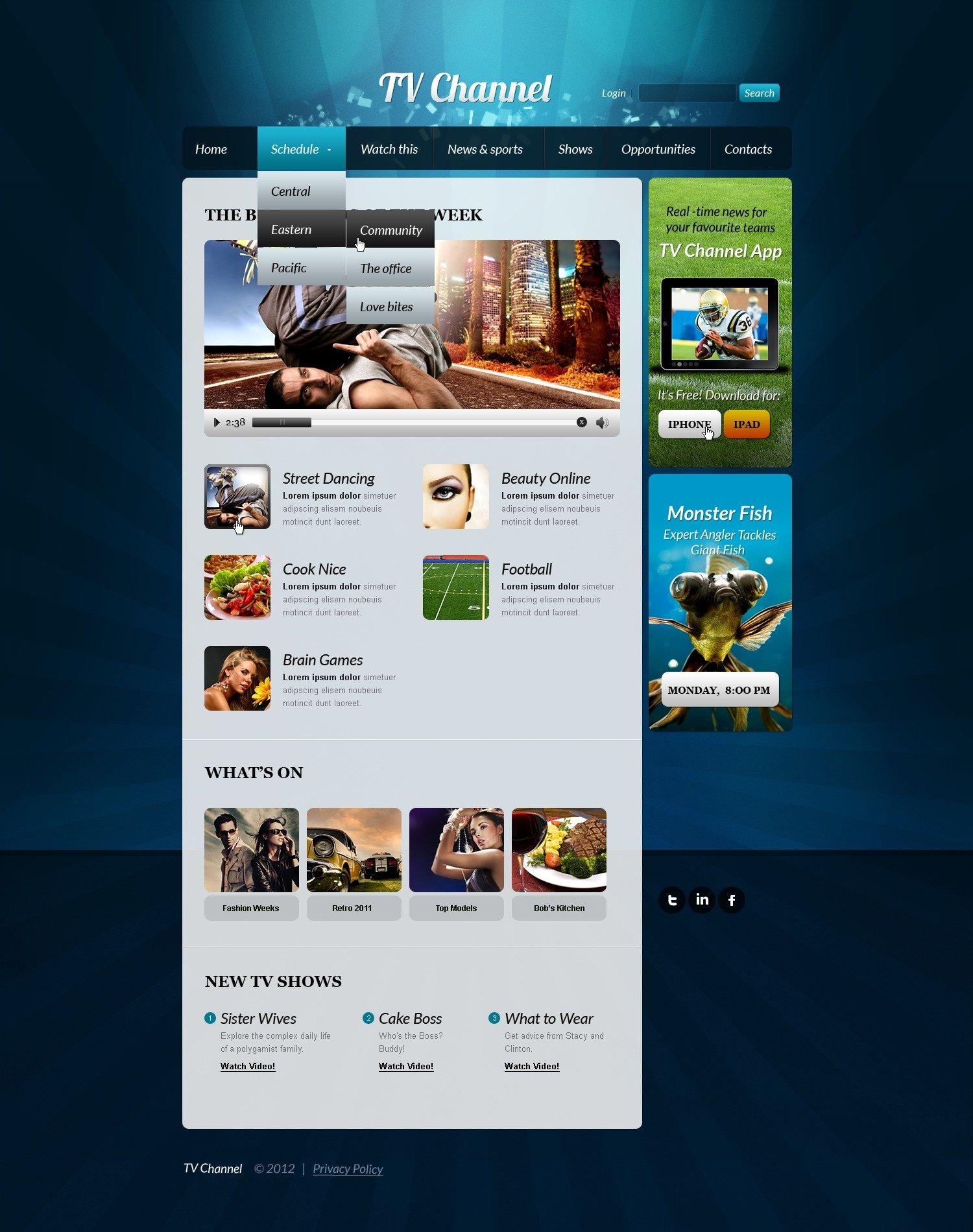TV Channel Website Template - screenshot
