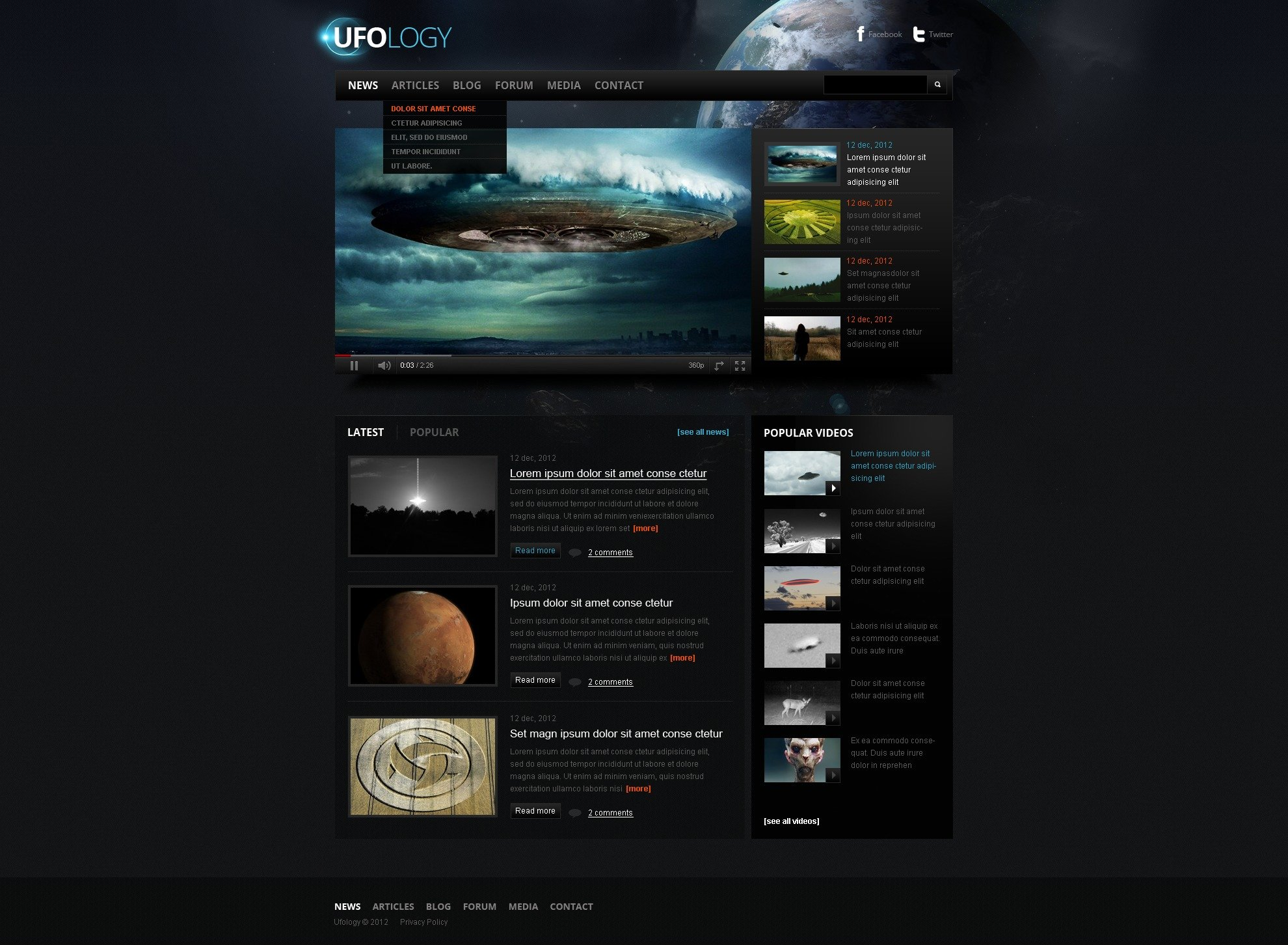 UFO Website Template #38086 by WT - Website Templates
