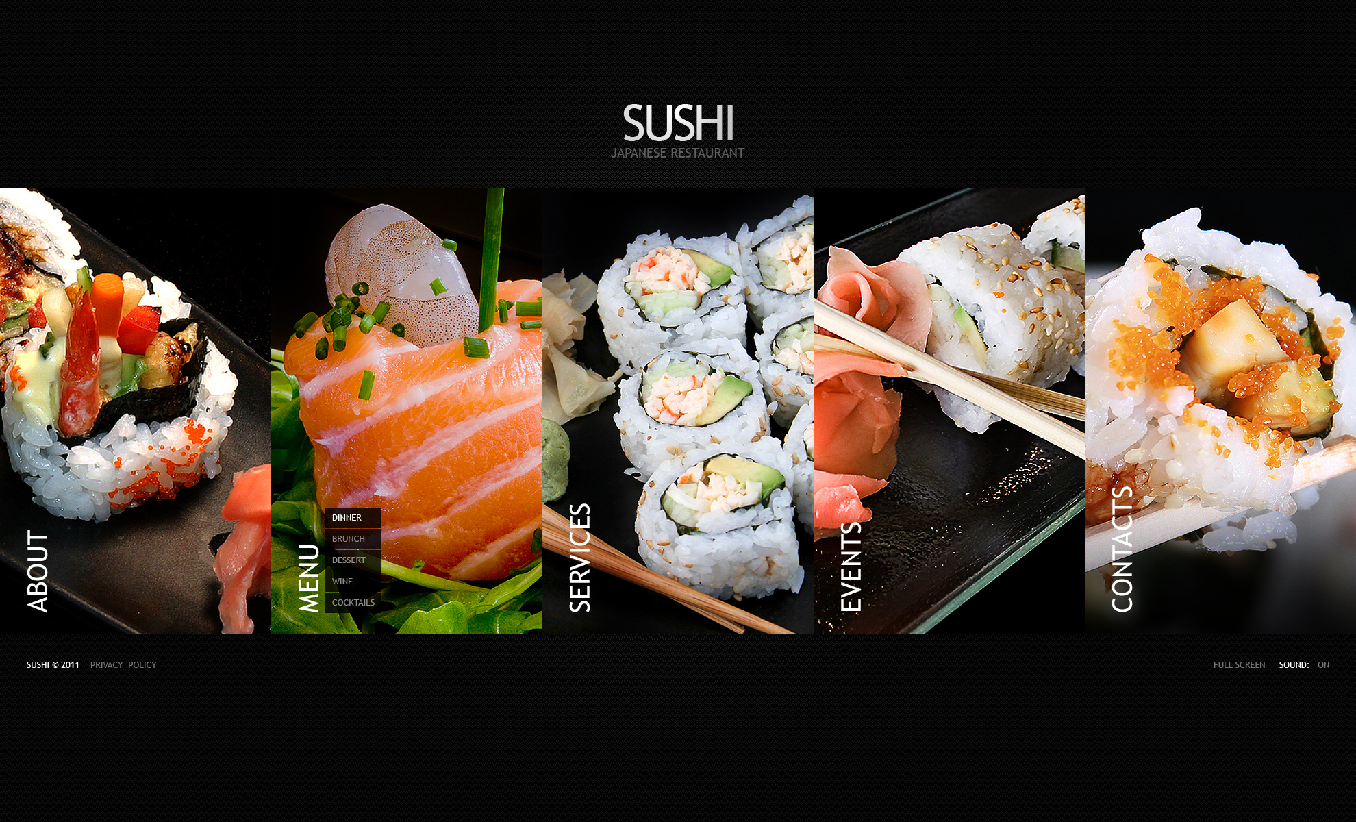 Flash CMS Vorlage #38053 für Sushi Bar