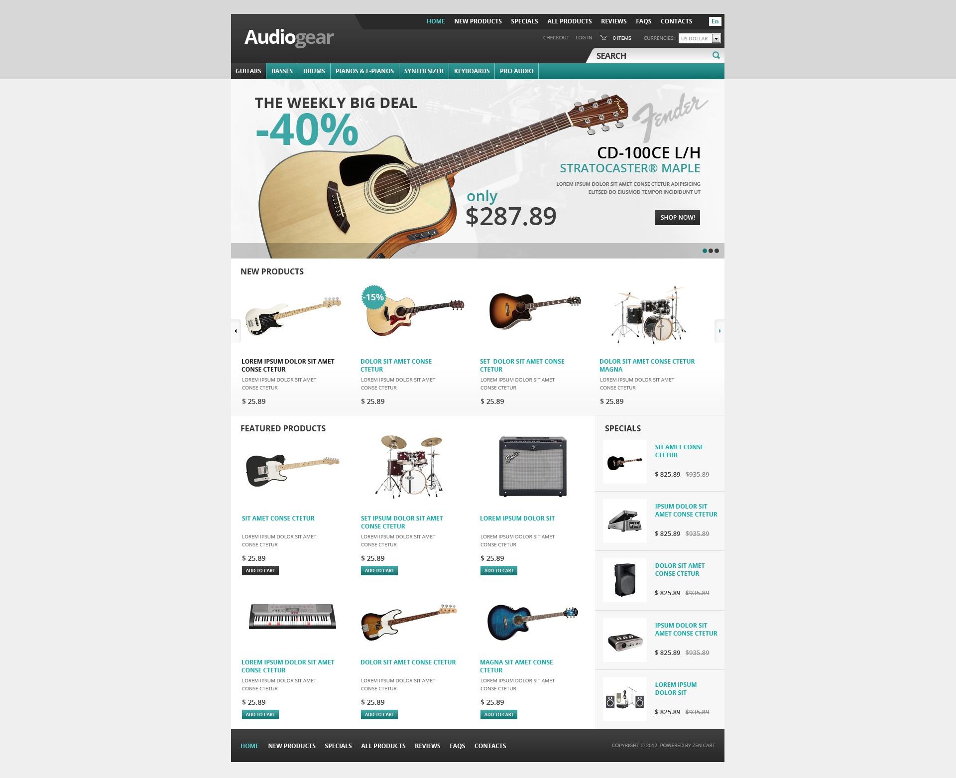 ZenCart шаблон №38069 на тему музыкальный магазин - скриншот