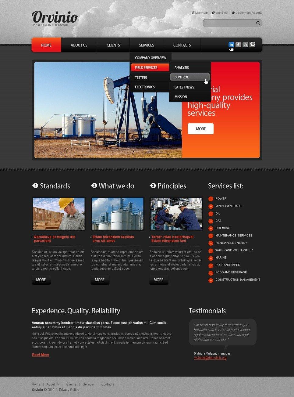 Template Web Para Sites De Industrial