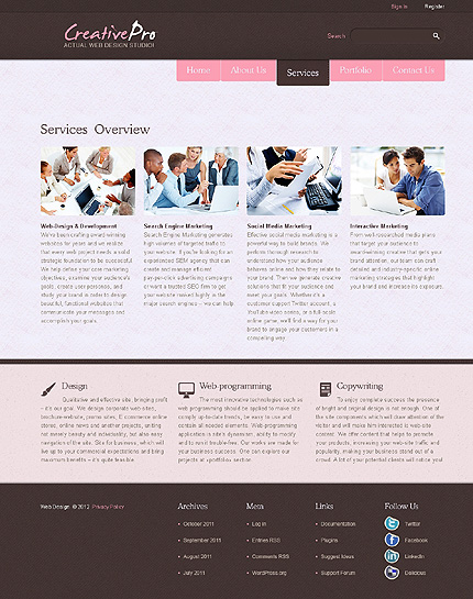 Template 38142 ( Services Page ) ADOBE Photoshop Screenshot