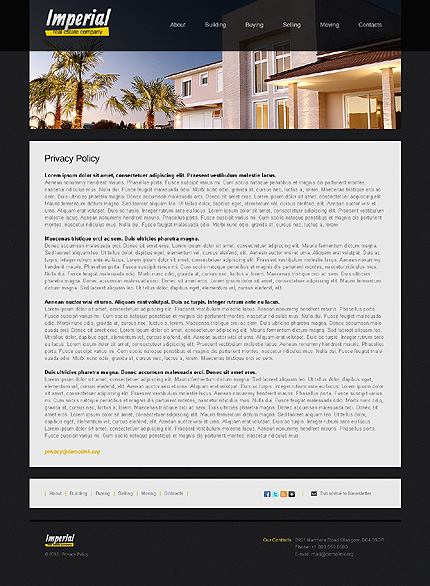 Template 38189 ( Privacy Policy Page ) ADOBE Photoshop Screenshot