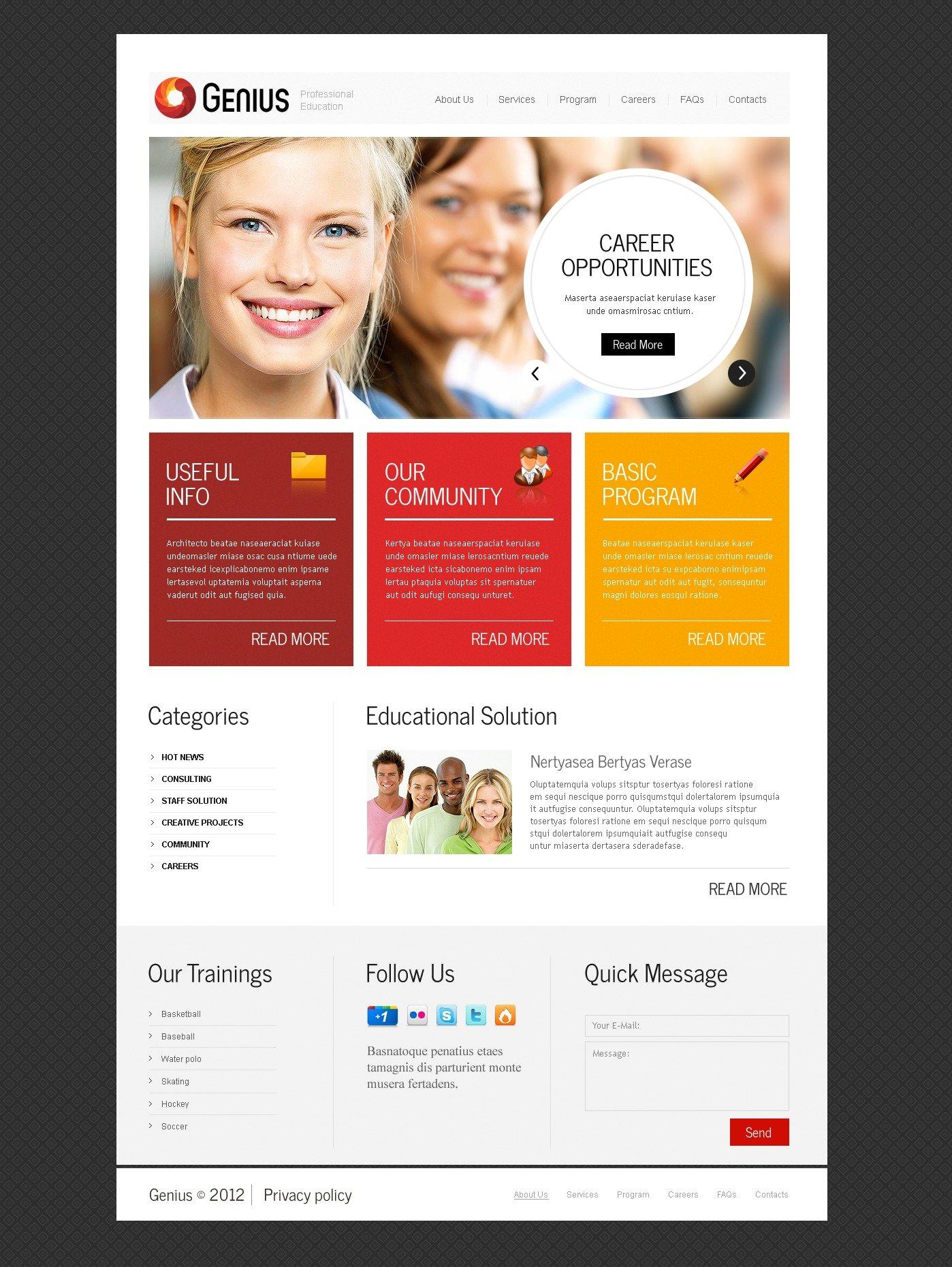 Career Education PSD Template