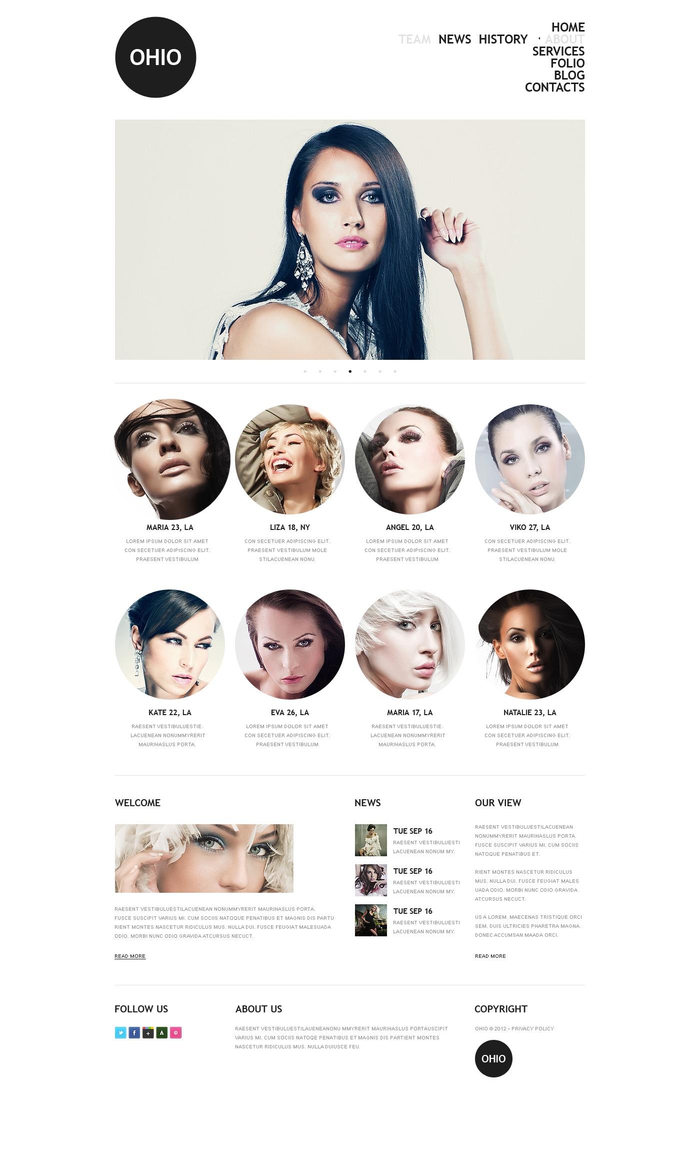 Modell ügynökség Joomla sablon 38100 - képernyőkép