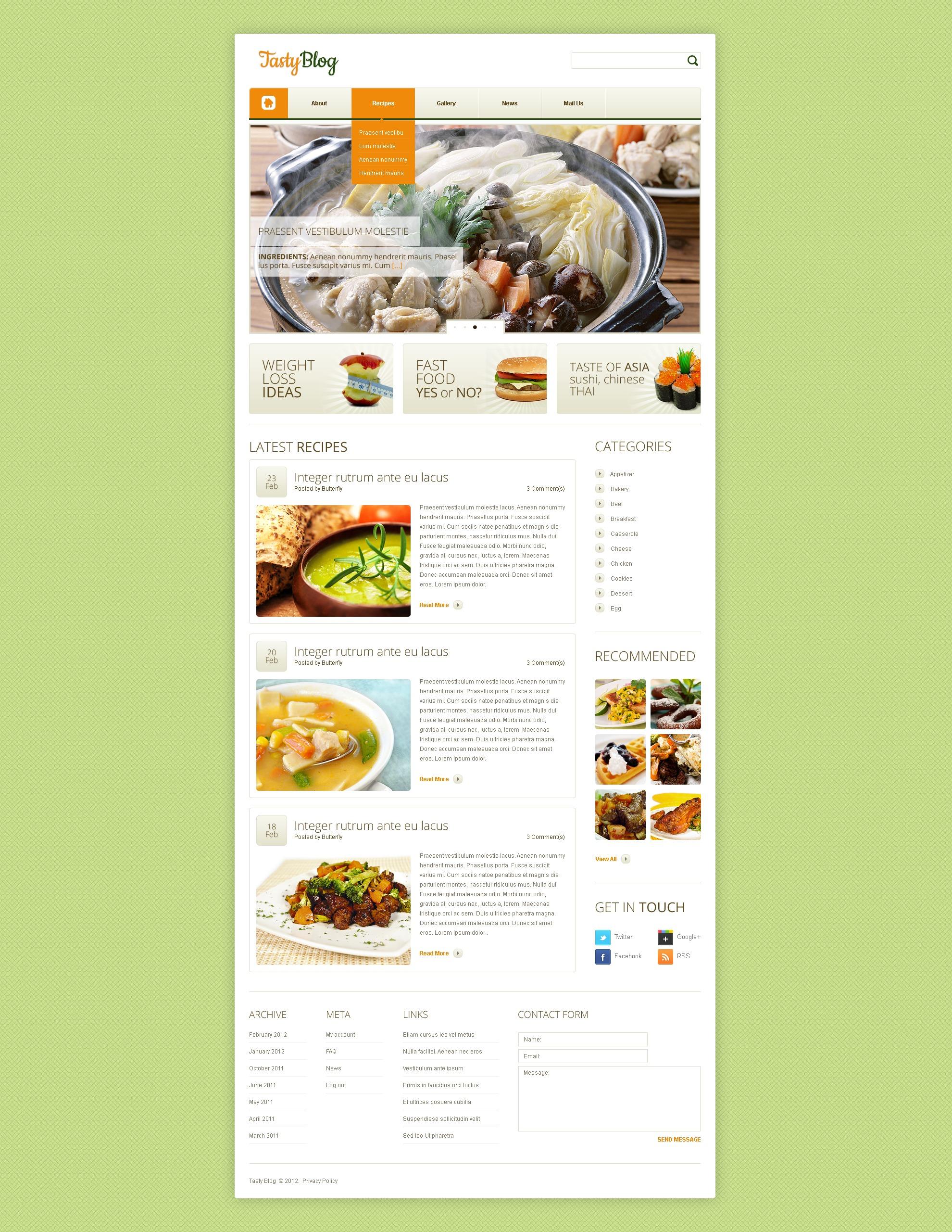 modello drupal 38186 per un sito di cucina