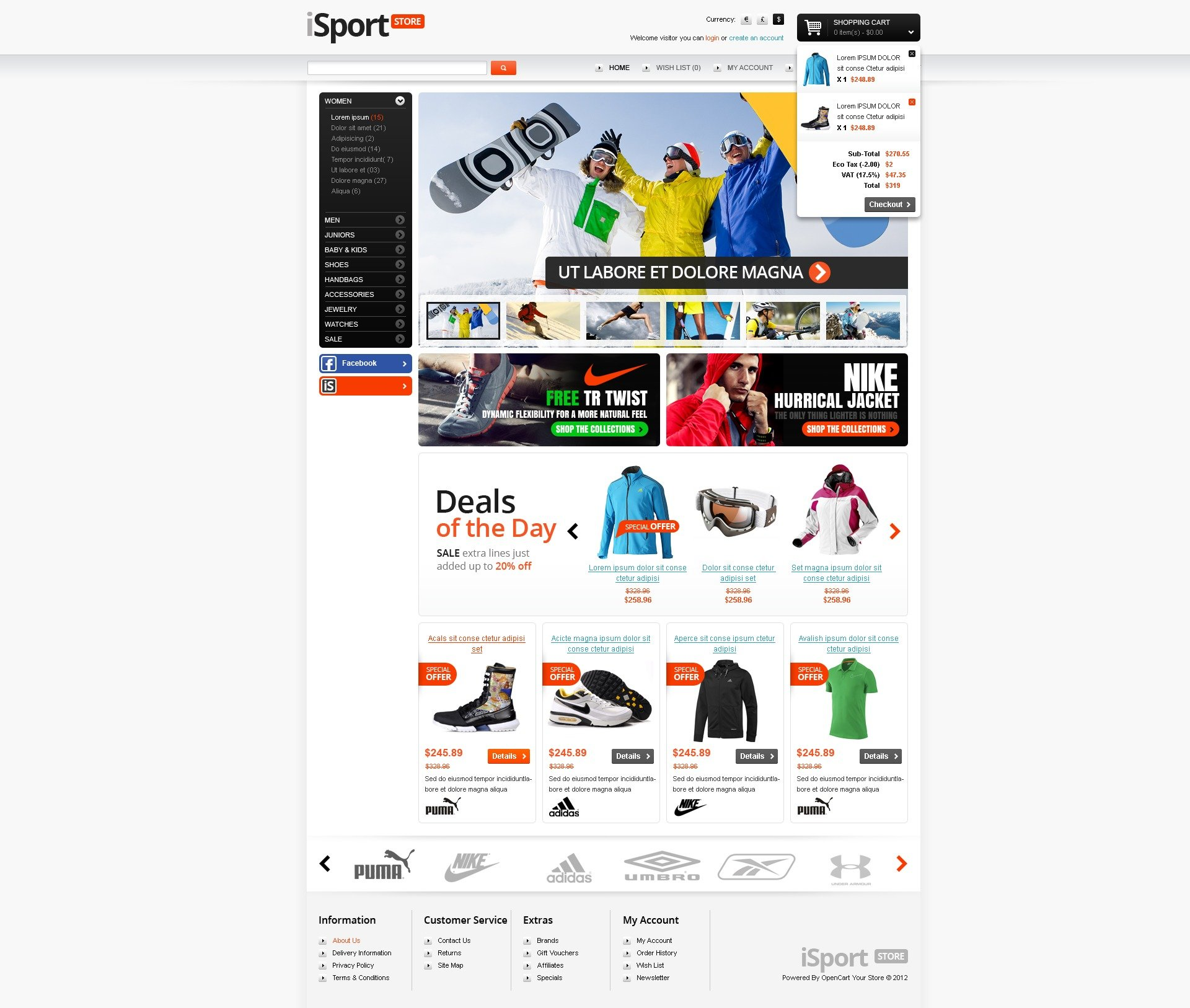 Sports store opencart template 38182 for Opencart bookstore template