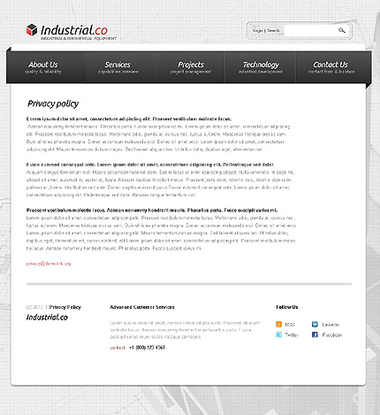 Template 38285 ( Privacy Policy Page ) ADOBE Photoshop Screenshot