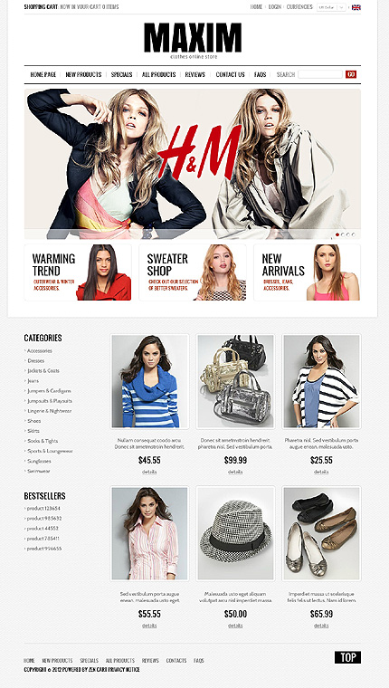 ZenCart Template 38347 Main Page Screenshot