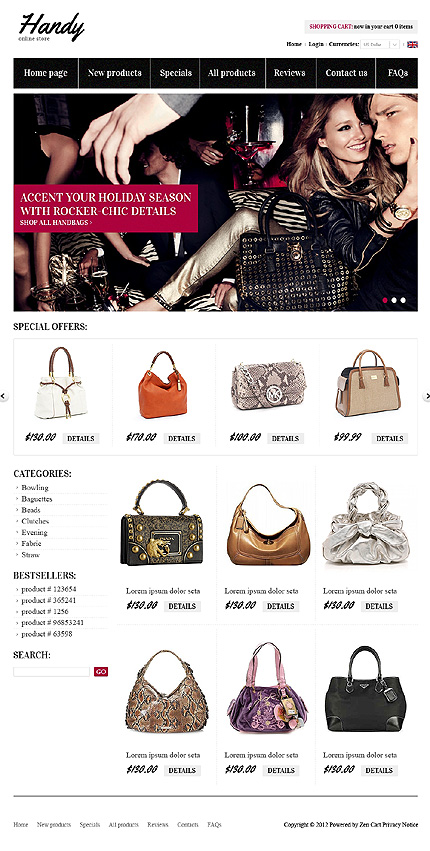 ZenCart Template 38348 Main Page Screenshot