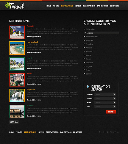 Template 38428 ( Destinations Page ) ADOBE Photoshop Screenshot