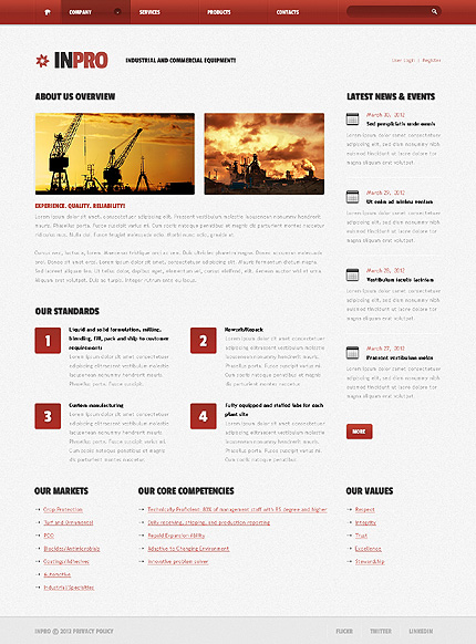 Template 38434 ( Company Page ) ADOBE Photoshop Screenshot