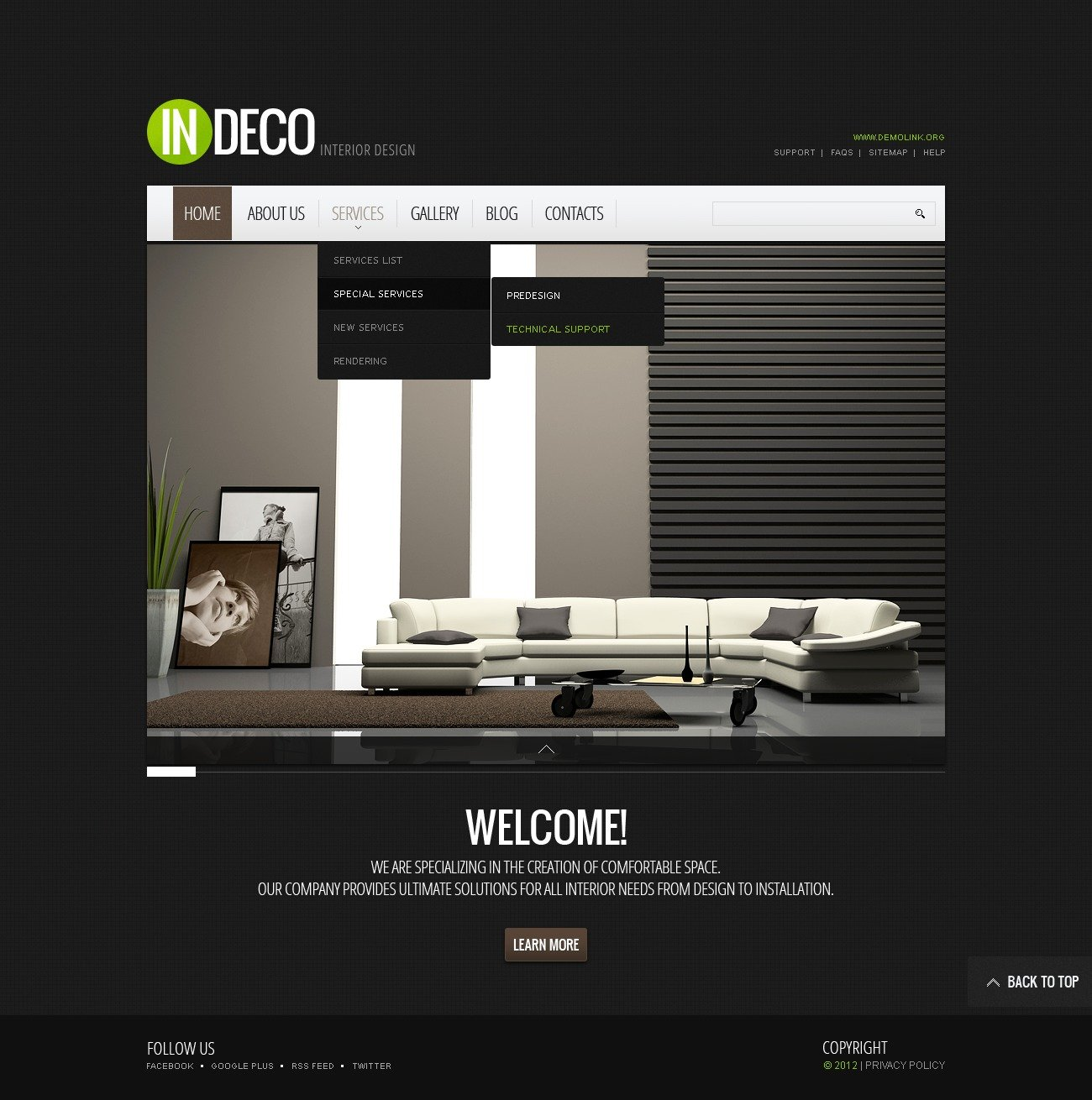 Interior design website template 38443 for Interior design sites