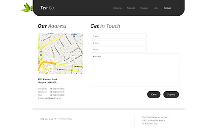 Template 38513 ( Contact Page ) ADOBE Photoshop Screenshot