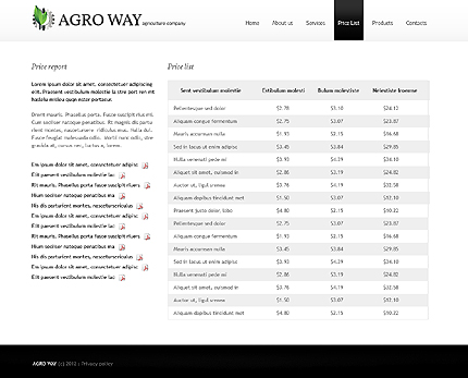 Template 38517 ( Pricelist Page ) ADOBE Photoshop Screenshot