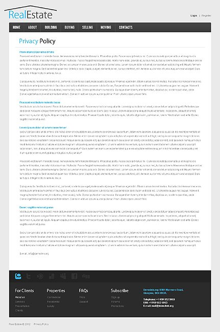 Template 38518 ( Privacy Policy Page ) ADOBE Photoshop Screenshot