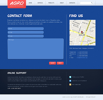 Template 38567 ( Contacts Page ) ADOBE Photoshop Screenshot