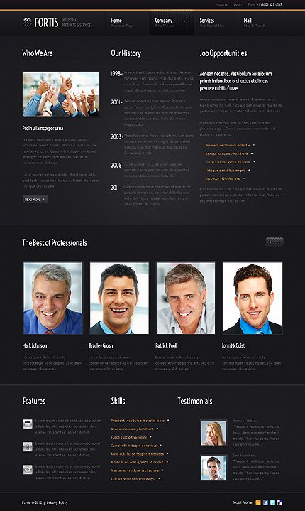 Template 38568 ( Company Page ) ADOBE Photoshop Screenshot