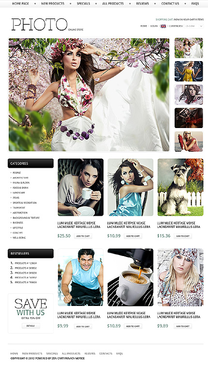 ZenCart Template 38588 Main Page Screenshot