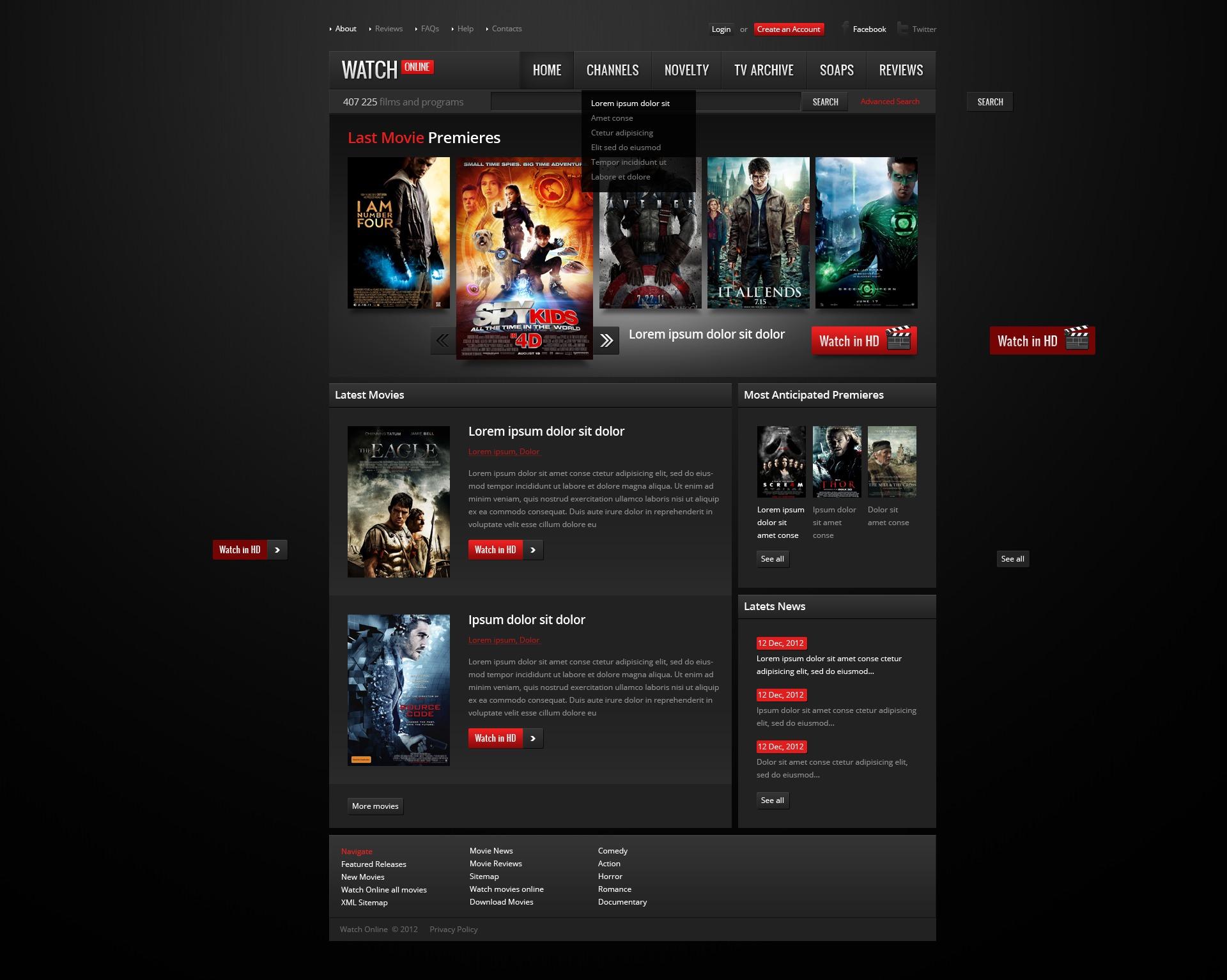 movie website template 38511