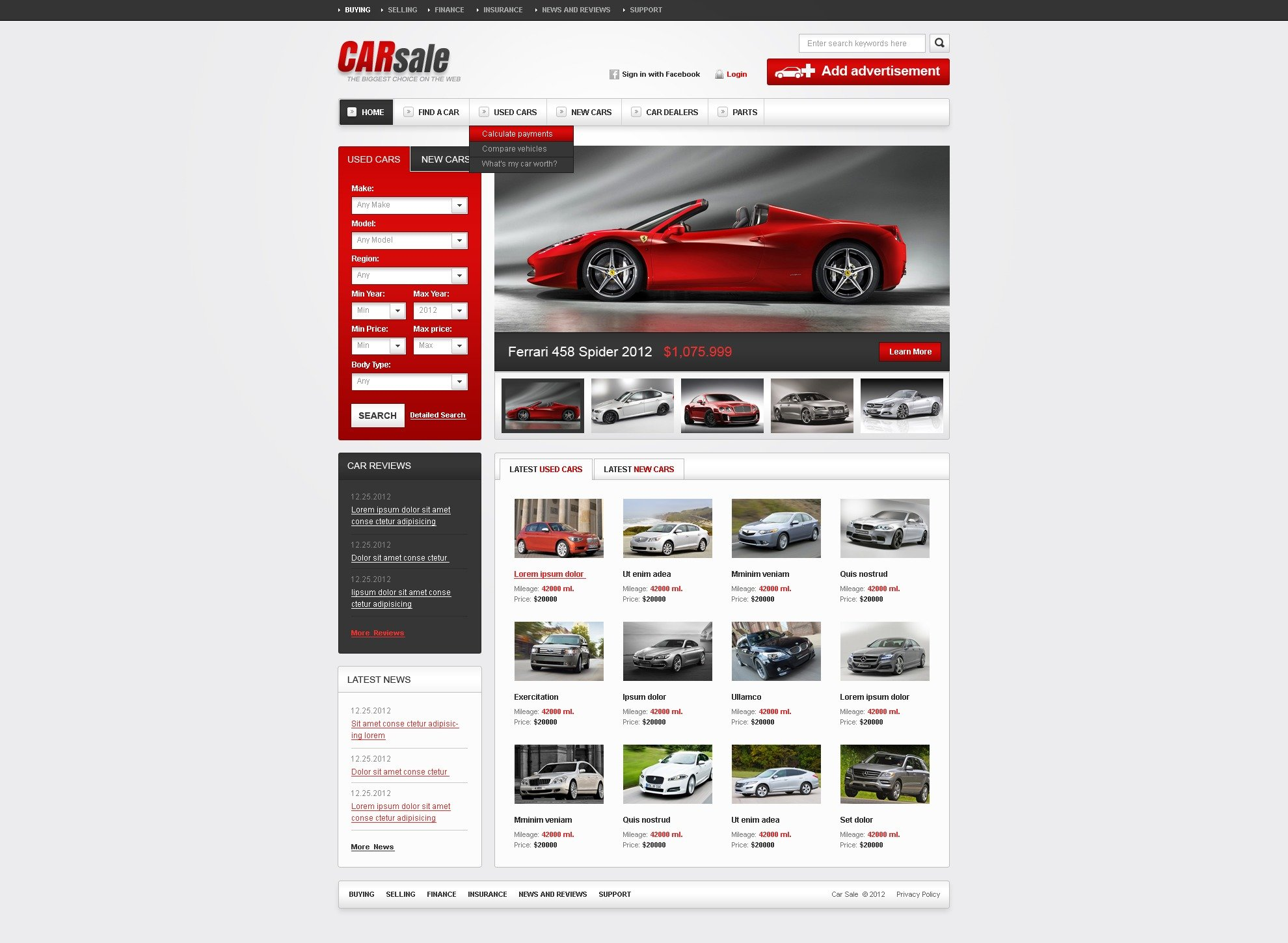 New Used Cars Website Template 38522