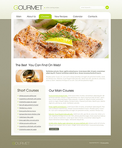 Food drink website template 38614 website templates zeronese template 38614 courses page adobe photoshop screenshot forumfinder Gallery
